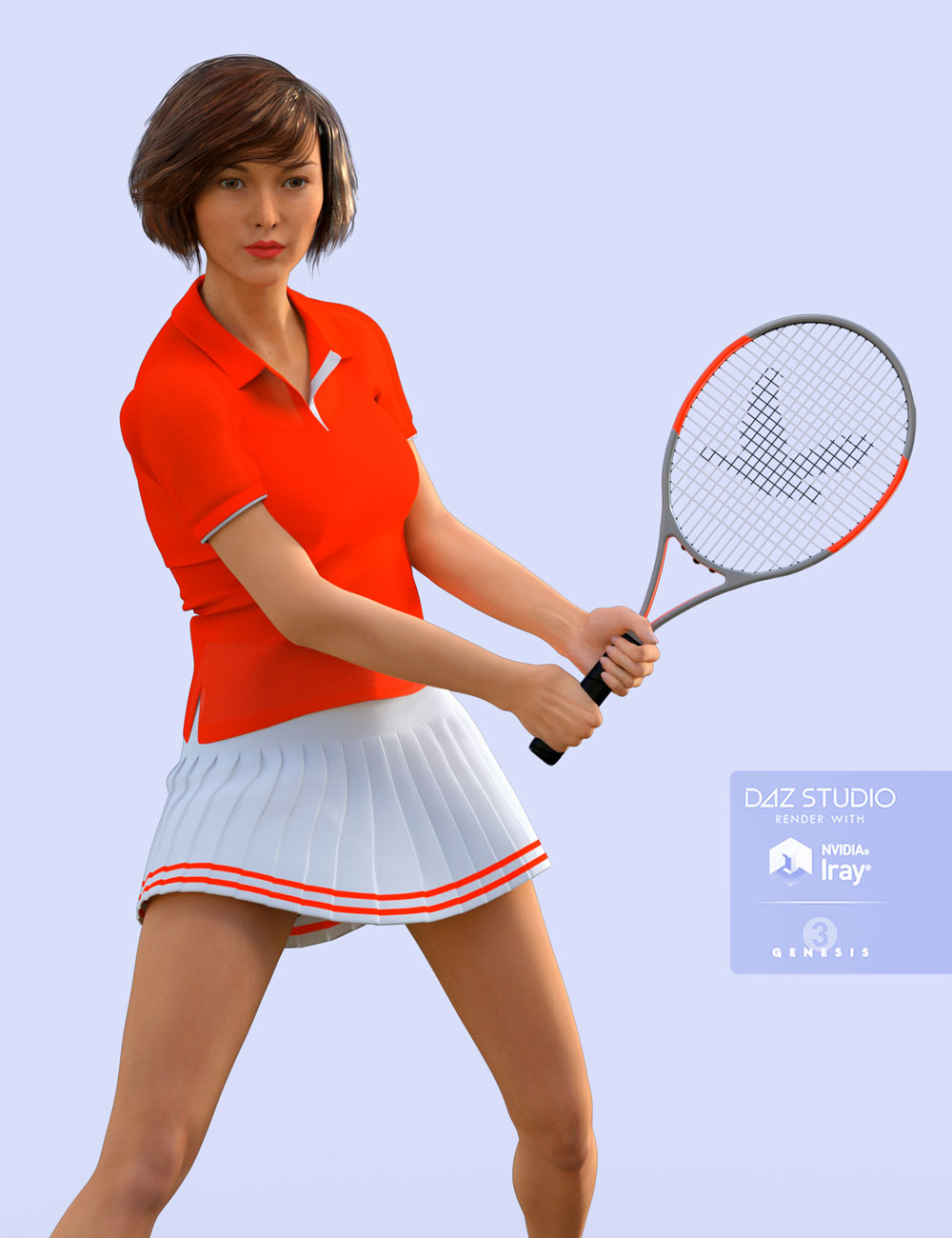 H&C Tennis Wear Set for Genesis 3 Female(s) by: IH Kang, 3D Models by Daz 3D