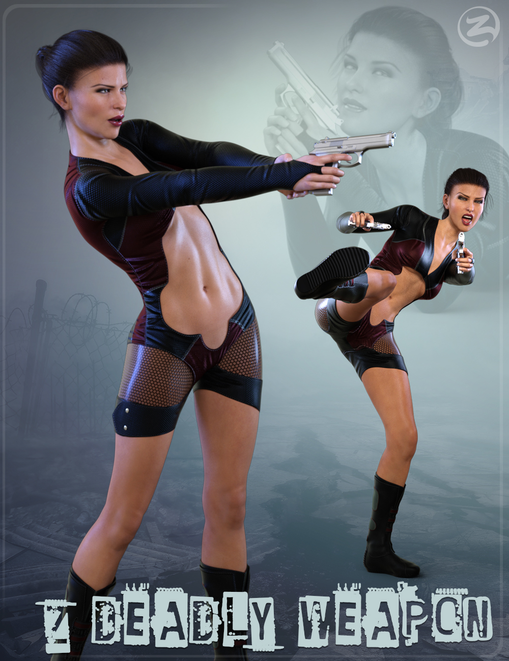 Z Deadly Weapon - Gun and Poses for Genesis 8 Female and Victoria 8 by: Zeddicuss, 3D Models by Daz 3D