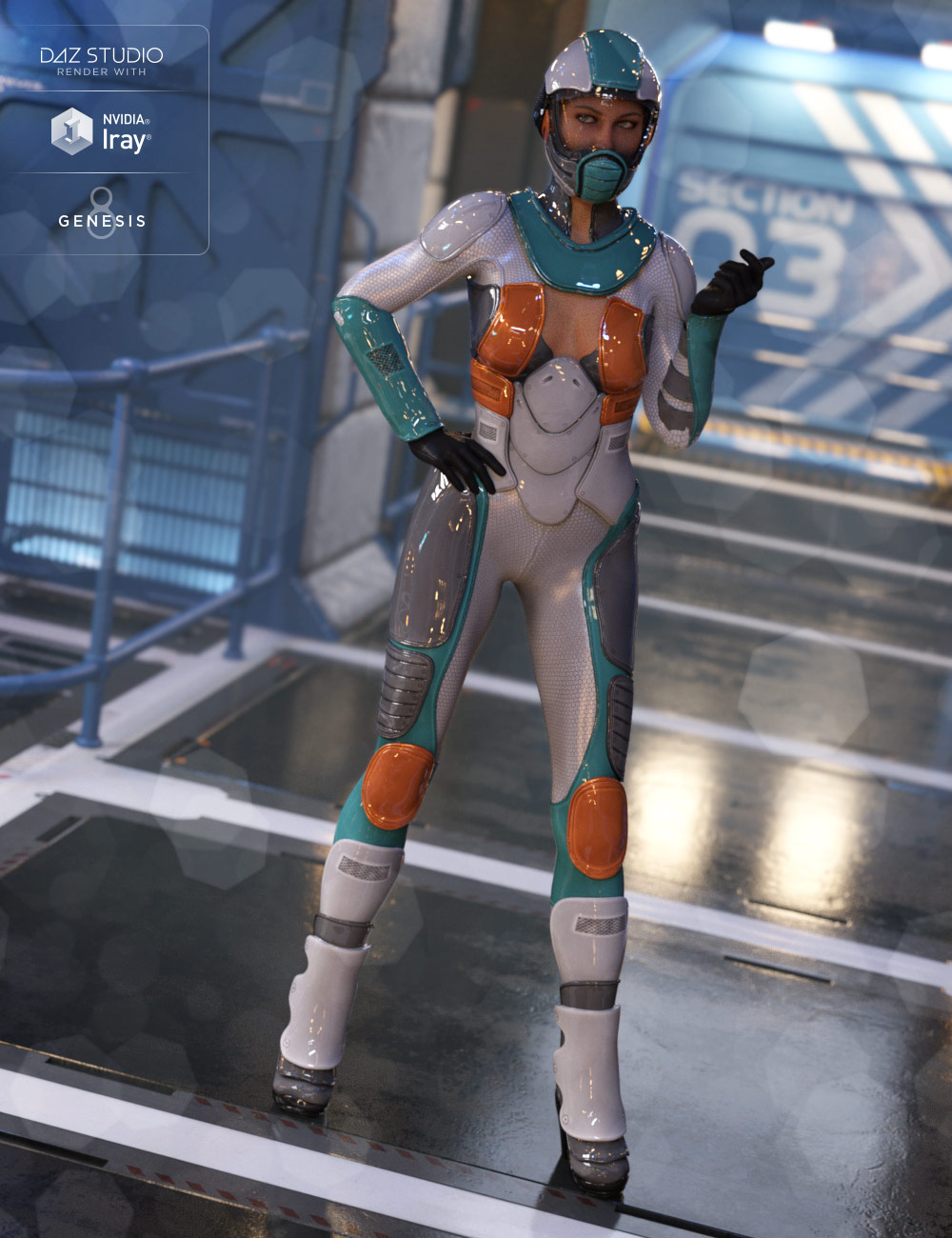 Andromeda Sci-Fi Outfit for Genesis 8 Female(s) by: DemianYura, 3D Models by Daz 3D