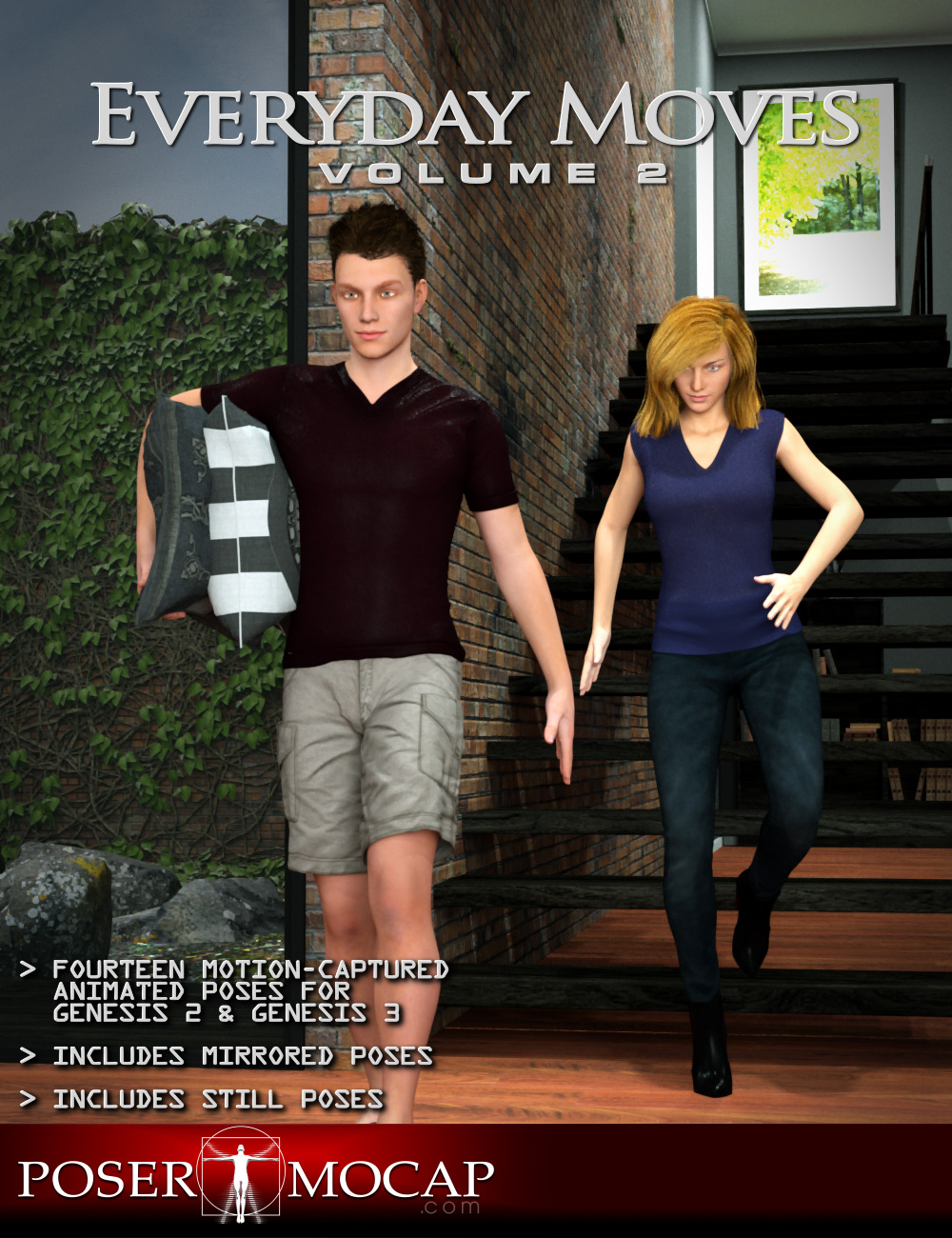 Everyday Moves Volume 2 - Everyday Animations and Aniblocks for Genesis 2 and 3 by: Posermocap, 3D Models by Daz 3D