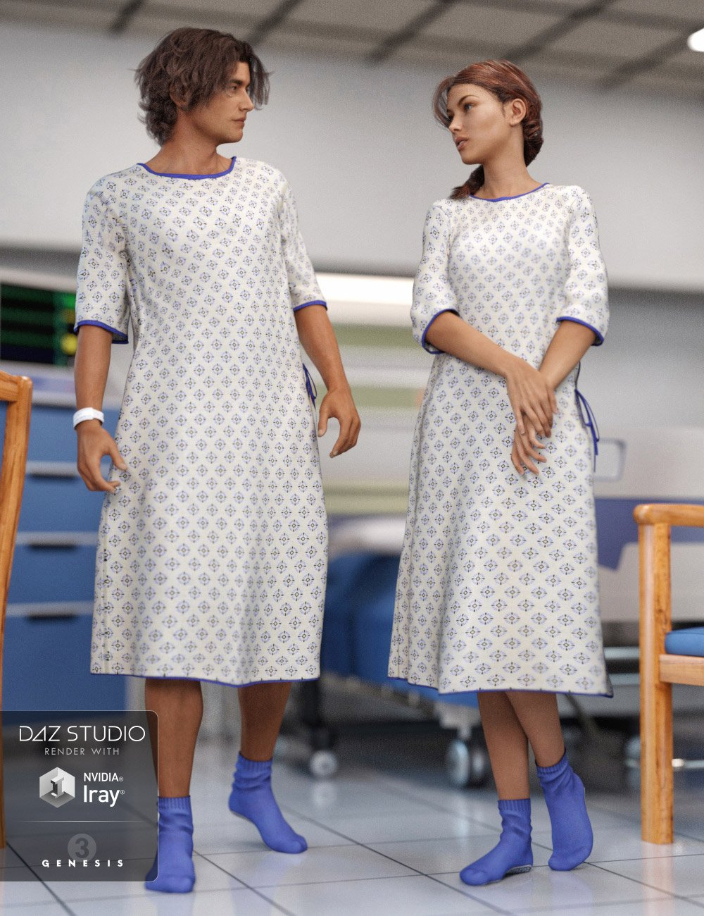 Hospital Wear for Genesis 3 Male(s) and Female(s) by: ArienRavenhair, 3D Models by Daz 3D