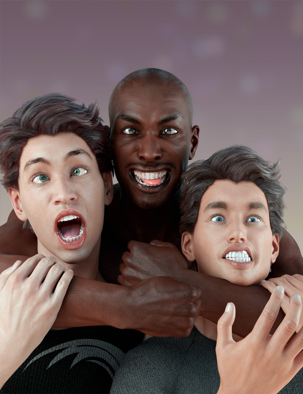 Grimaces - Dialable & One-Click Expressions for Genesis 3 Male by: Leo Lee, 3D Models by Daz 3D