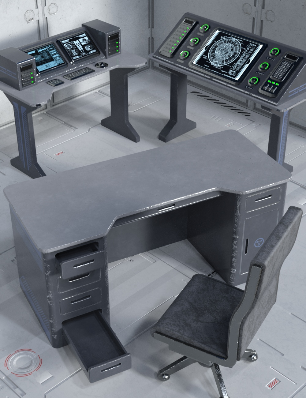 Sci-fi Desks and Chair by: Nightshift3D, 3D Models by Daz 3D
