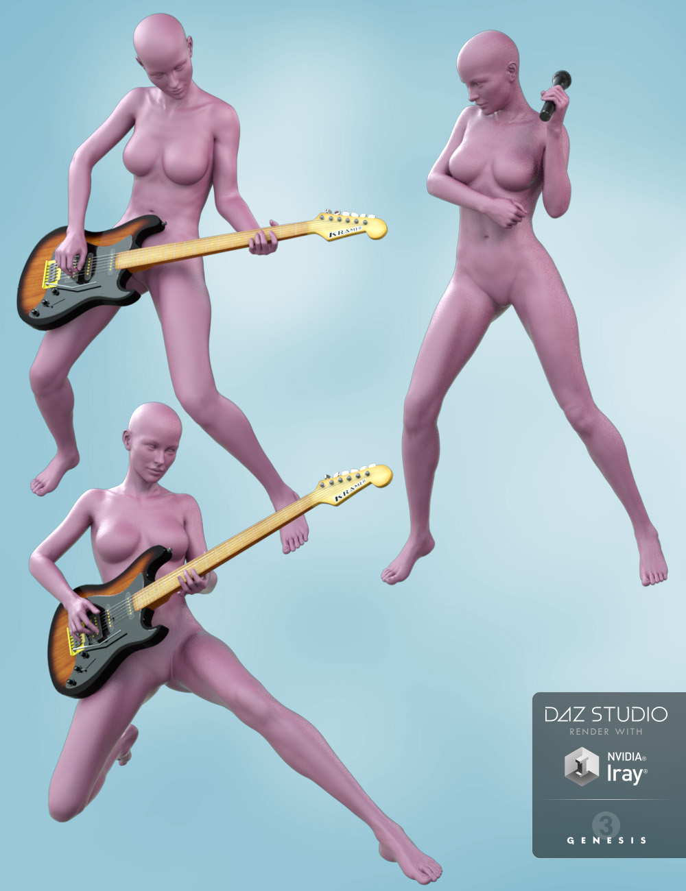Guitar and Microphone with Poses for Genesis 8 Female and Victoria 8 by: aurorabreeze, 3D Models by Daz 3D