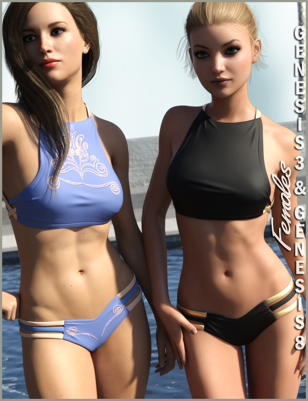 High Neck Bikini for Genesis 3 and Genesis 8 Female(s) by: Nikisatez, 3D Models by Daz 3D