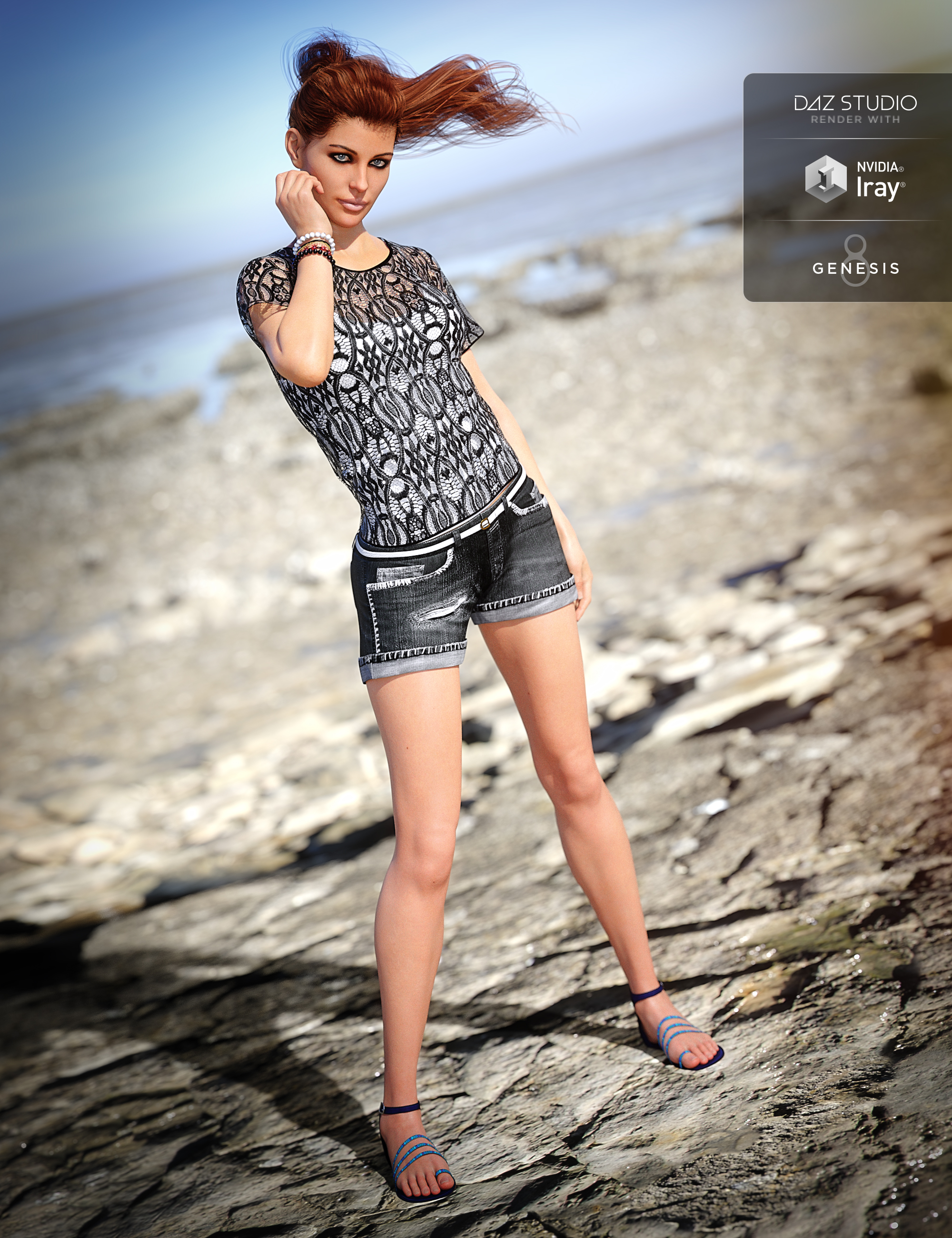 Boho Shorts Outfit for Genesis 8 Female(s) by: NikisatezShox-Design, 3D Models by Daz 3D