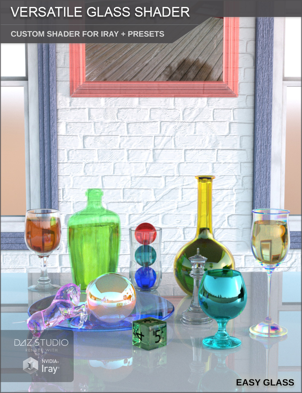 Versatile Glass Shader - Custom Shader and Presets for Iray by: SF-Design, 3D Models by Daz 3D