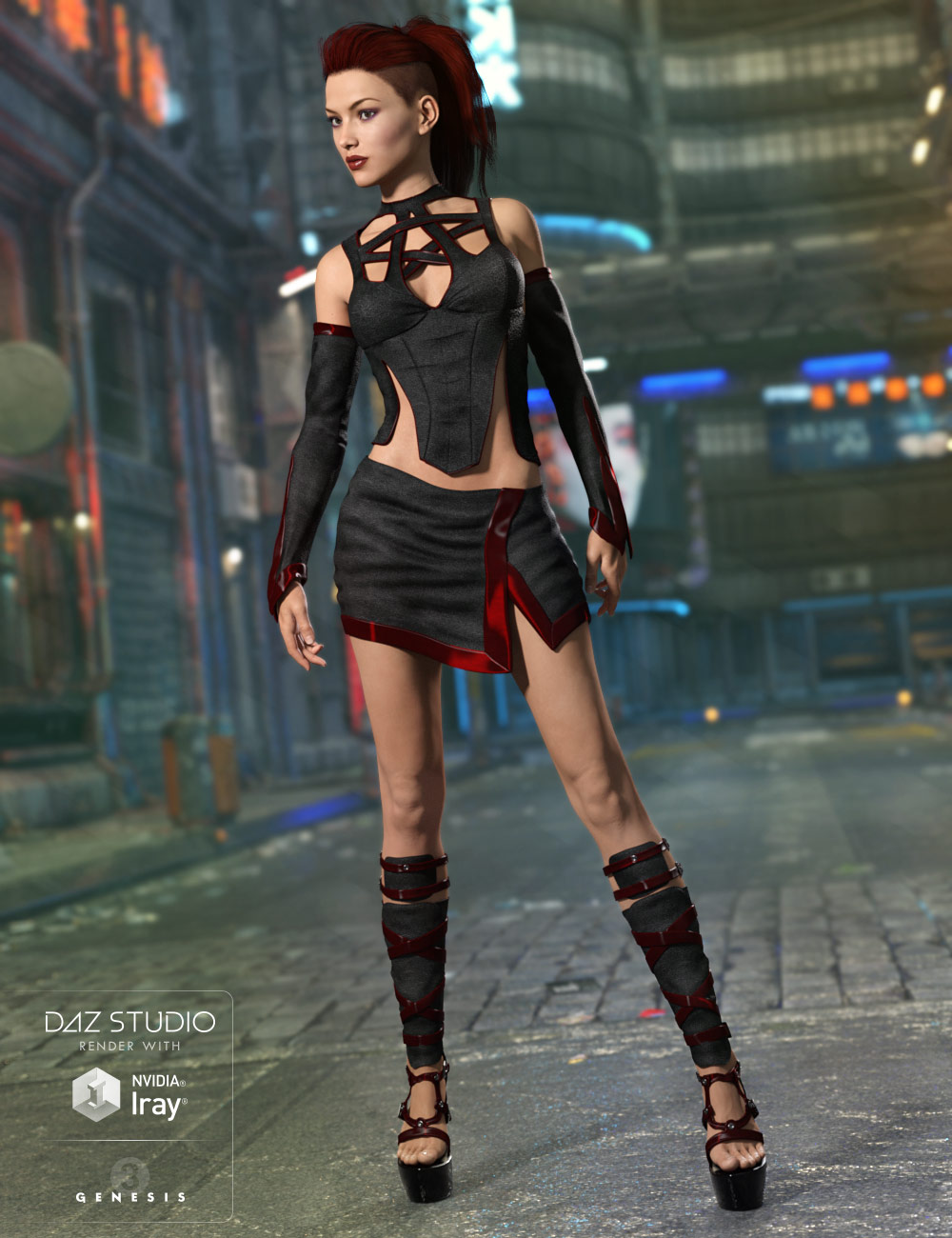 Credence Outfit for Genesis 3 Female(s) by: 4blueyes, 3D Models by Daz 3D
