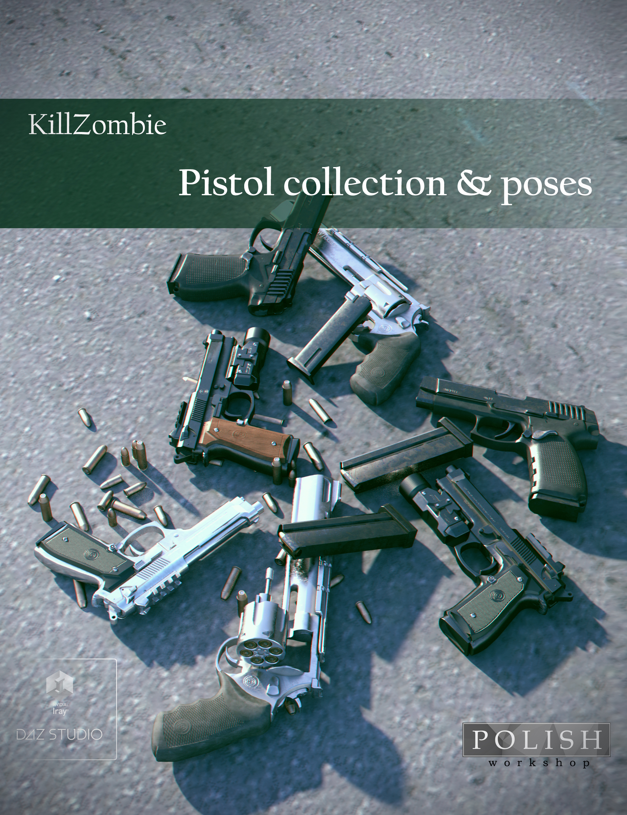 KillZombie Pistols Collection by: Polish, 3D Models by Daz 3D