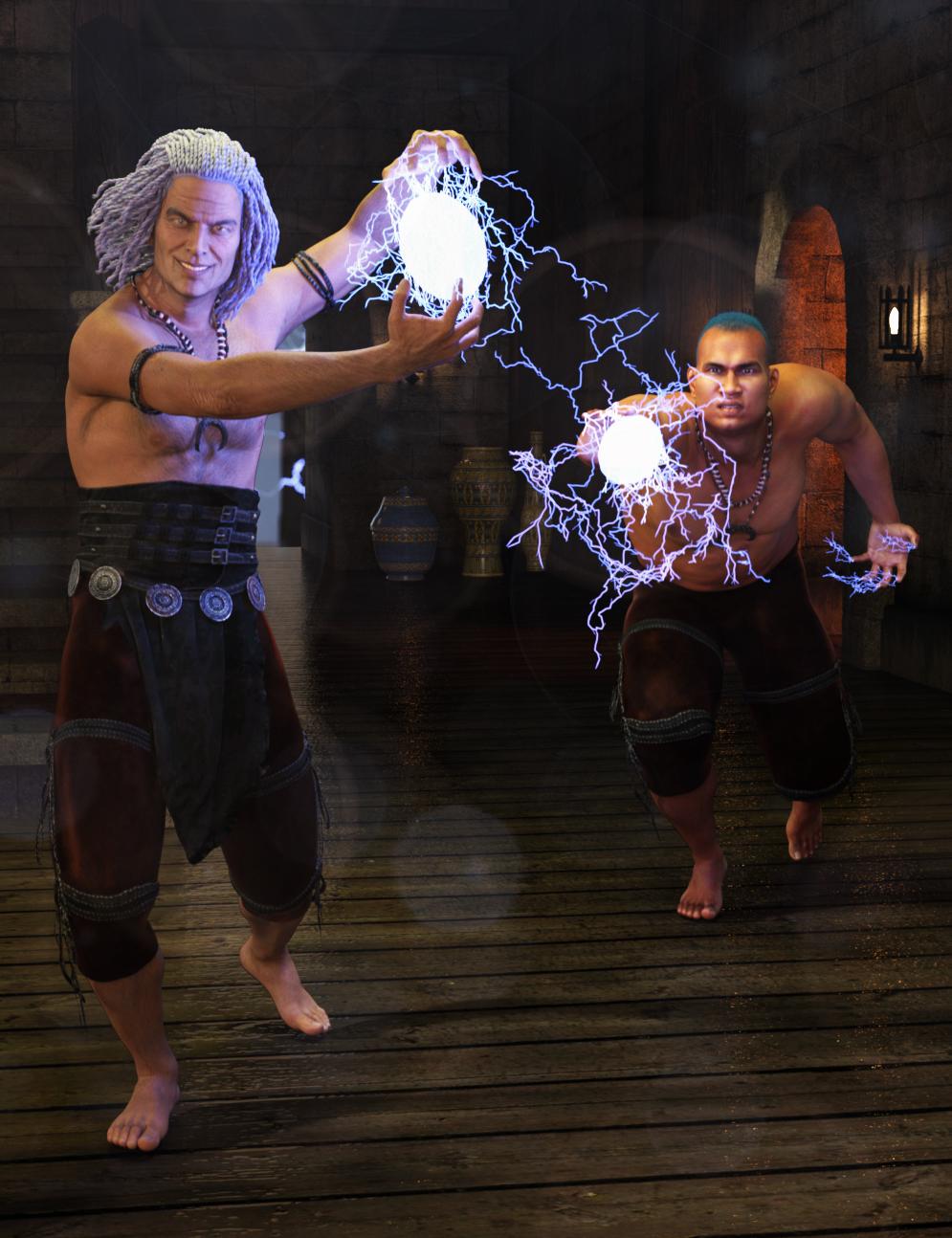 Electromancy Power Poses for Genesis 3 Male by: FeralFey, 3D Models by Daz 3D
