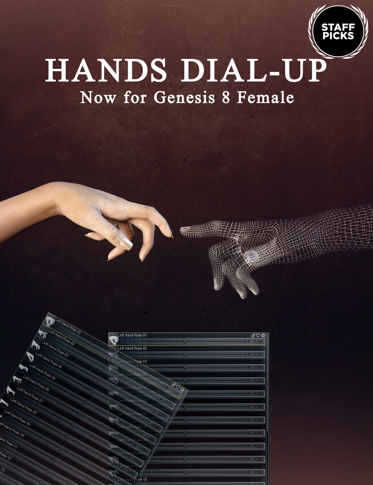 Hands Dial-up for Genesis 8 Female by: Neikdian, 3D Models by Daz 3D