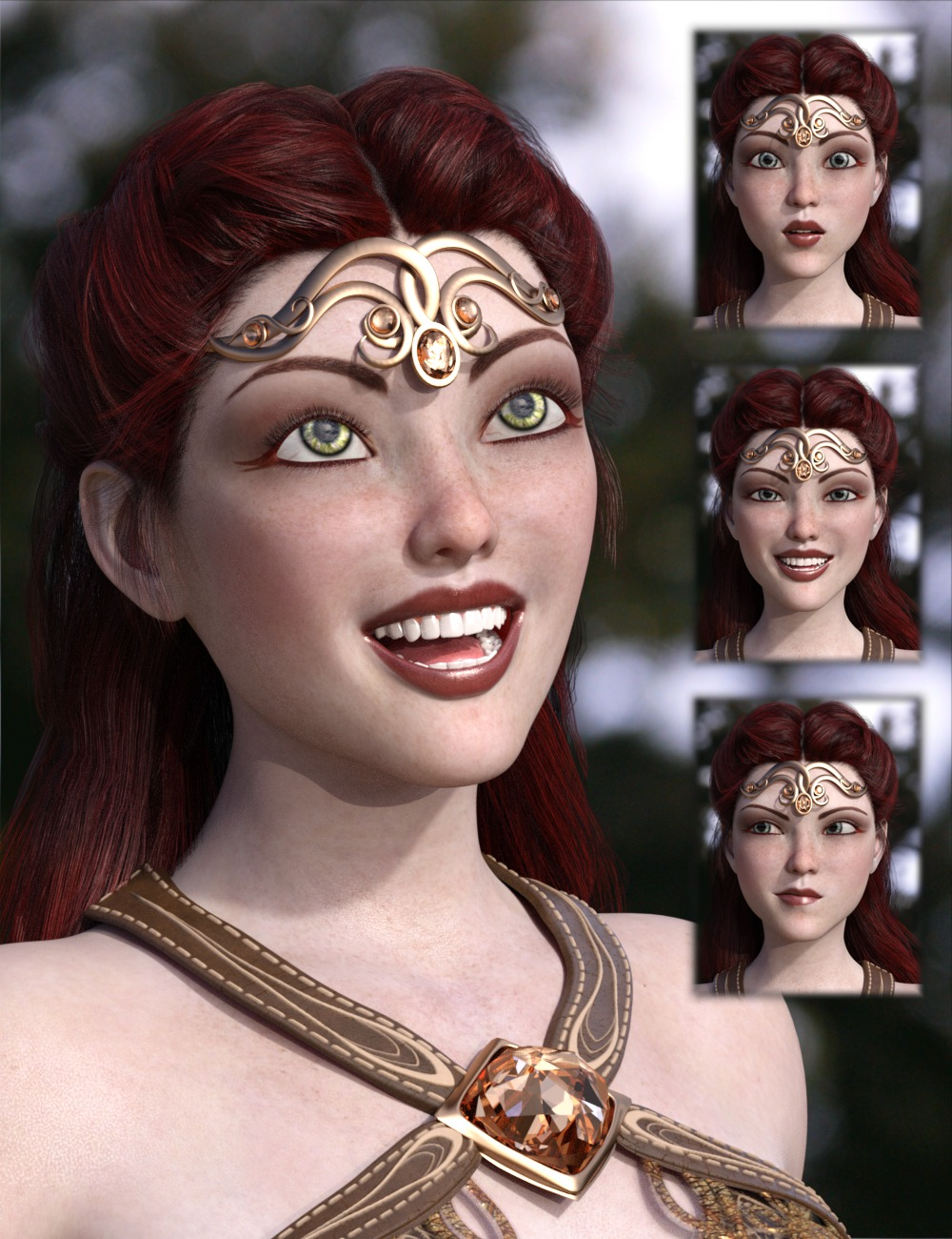 Celinette Expressions and Smile Morphs for Genesis 3 Female by: 3D-GHDesign, 3D Models by Daz 3D