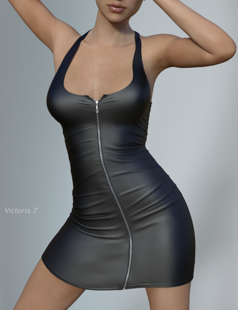 Hongyu's Leather Dress for Victoria 7 by: hongyu, 3D Models by Daz 3D