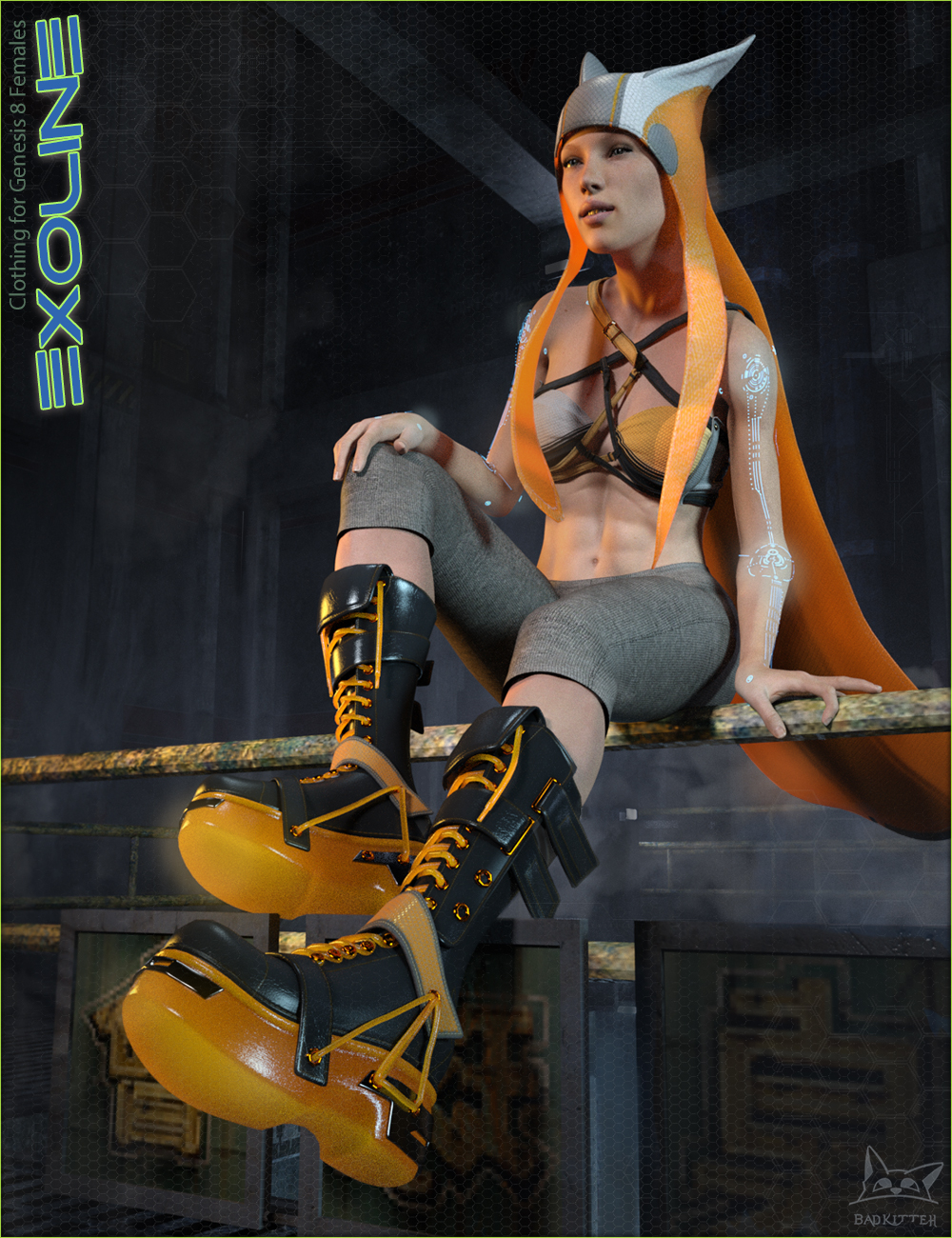 Exoline Boots and Accessories for Genesis 8 Female(s) by: BadKitteh Co, 3D Models by Daz 3D