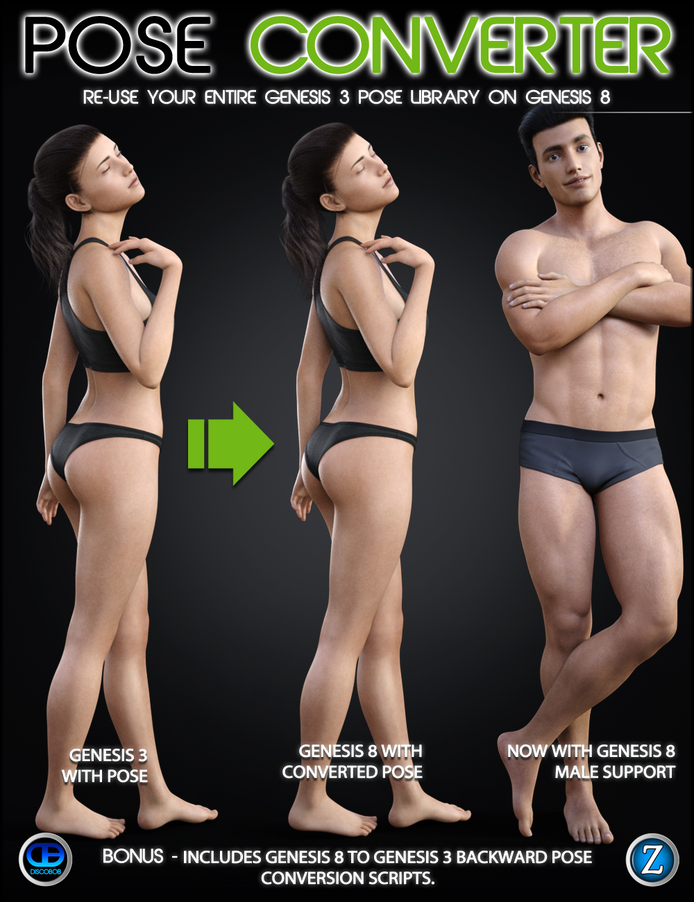 Genesis 3 to Genesis 8 Pose Converter by: DiscobobZev0, 3D Models by Daz 3D