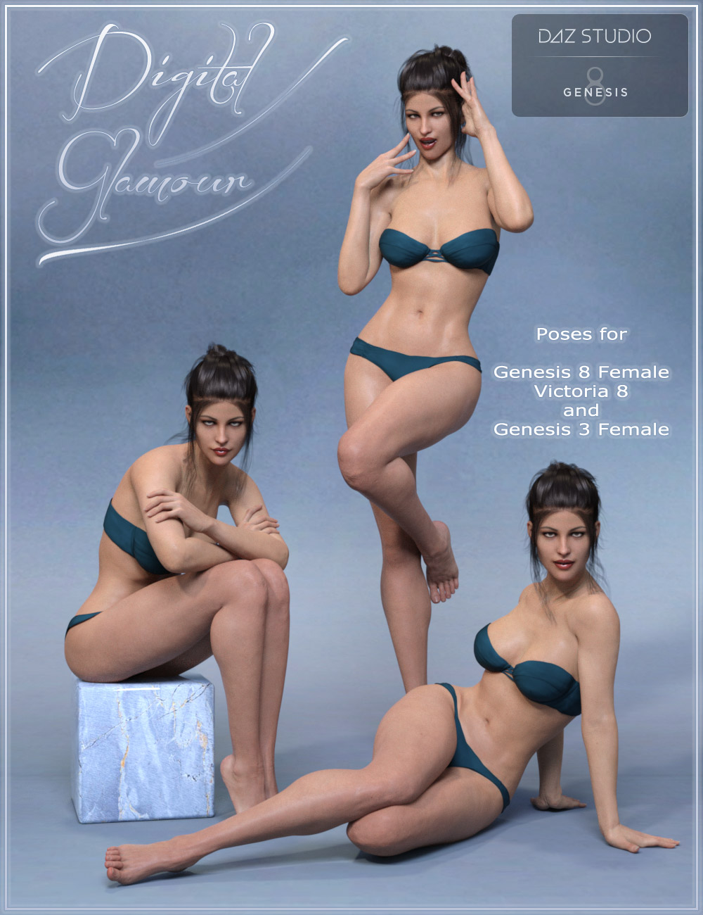 Digital Glamour Poses for Genesis 3 and Genesis 8 Female(s) by: ilona, 3D Models by Daz 3D