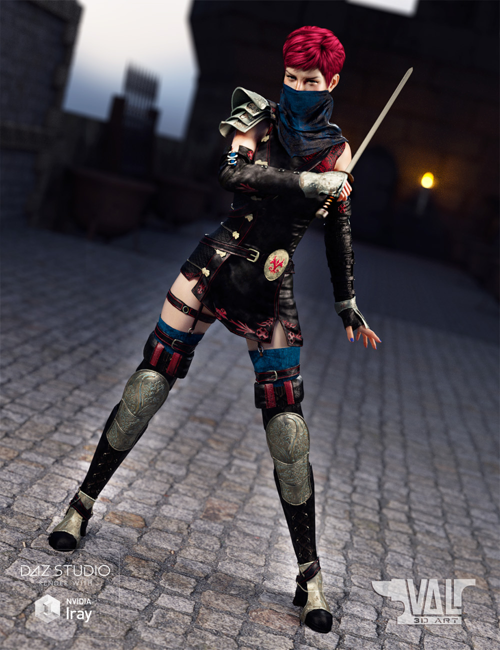 Lethal Whisper Outfit and Poses for Genesis 8 Female and Victoria 8 by: Val3dart, 3D Models by Daz 3D
