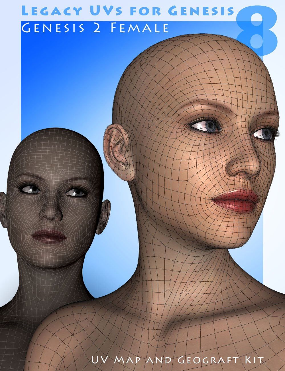 Legacy UVs for Genesis 8: Genesis 2 Female by: Cayman Studios, 3D Models by Daz 3D