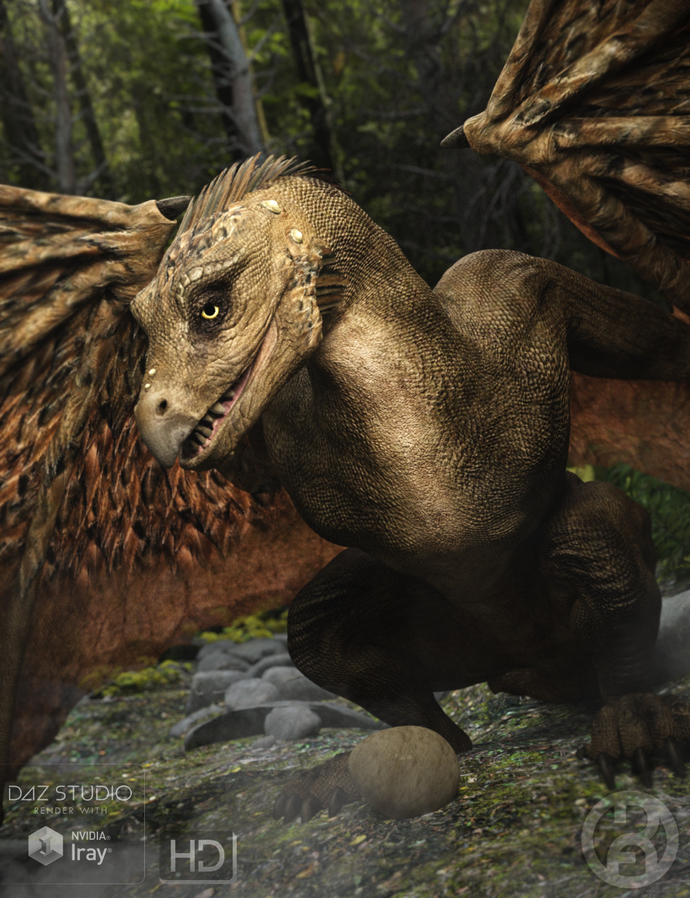 Raptor – The Feathered Dragon HD by: RawArt, 3D Models by Daz 3D