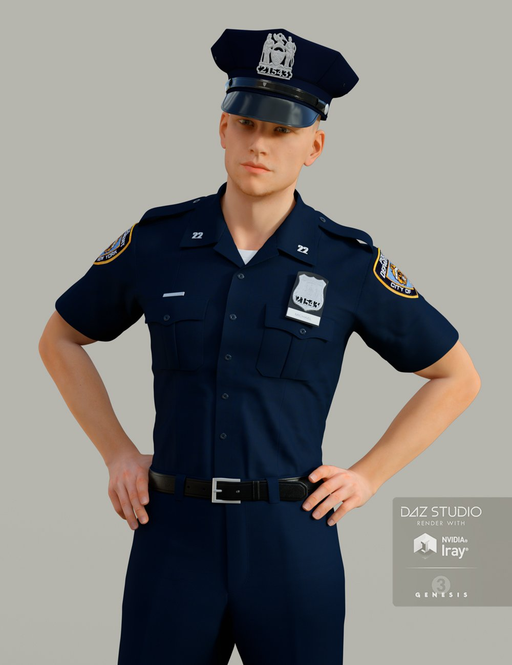 H&C Police Uniform for Genesis 3 Male(s) by: IH Kang, 3D Models by Daz 3D