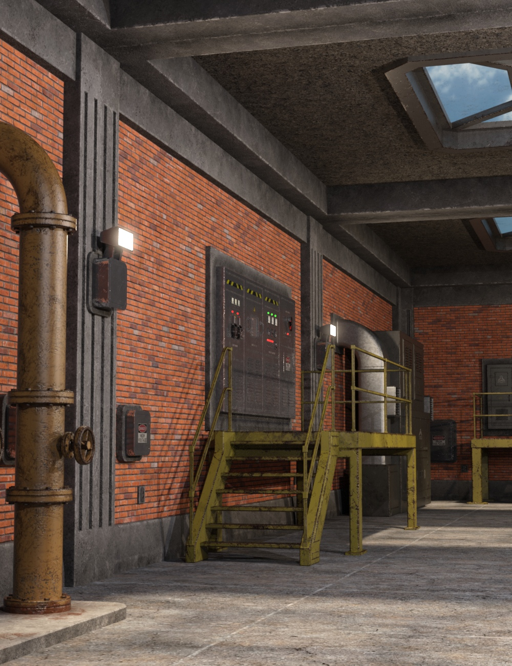 Industrial Interior Modular Kit 1 by: Nightshift3D, 3D Models by Daz 3D