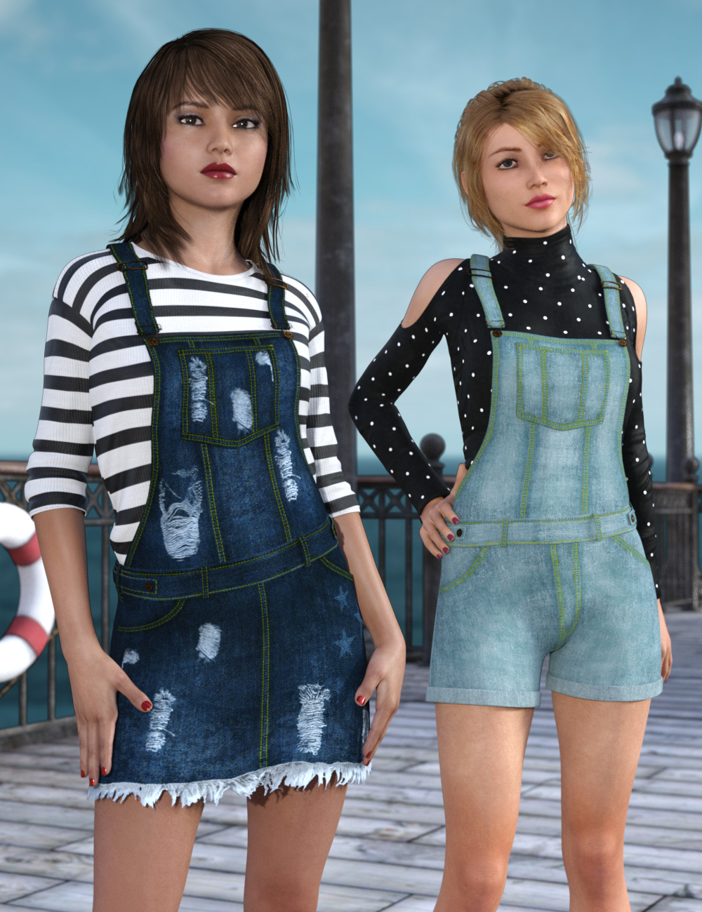 3 in 1 Dungarees for Genesis 3 & Genesis 8 Female(s) by: Dogz, 3D Models by Daz 3D