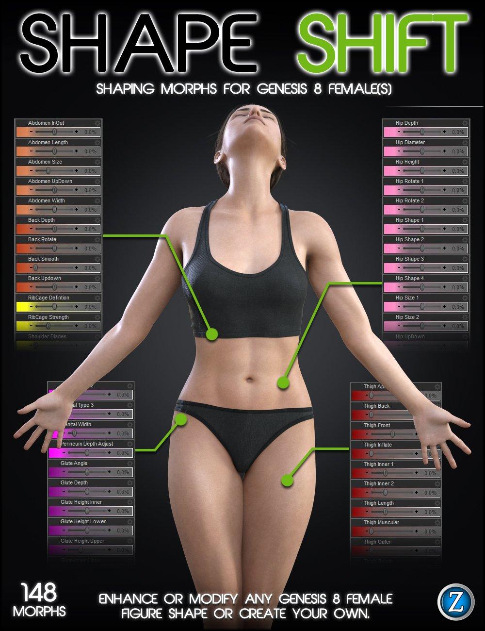 Shape Shift for Genesis 8 Female(s) by: Zev0, 3D Models by Daz 3D