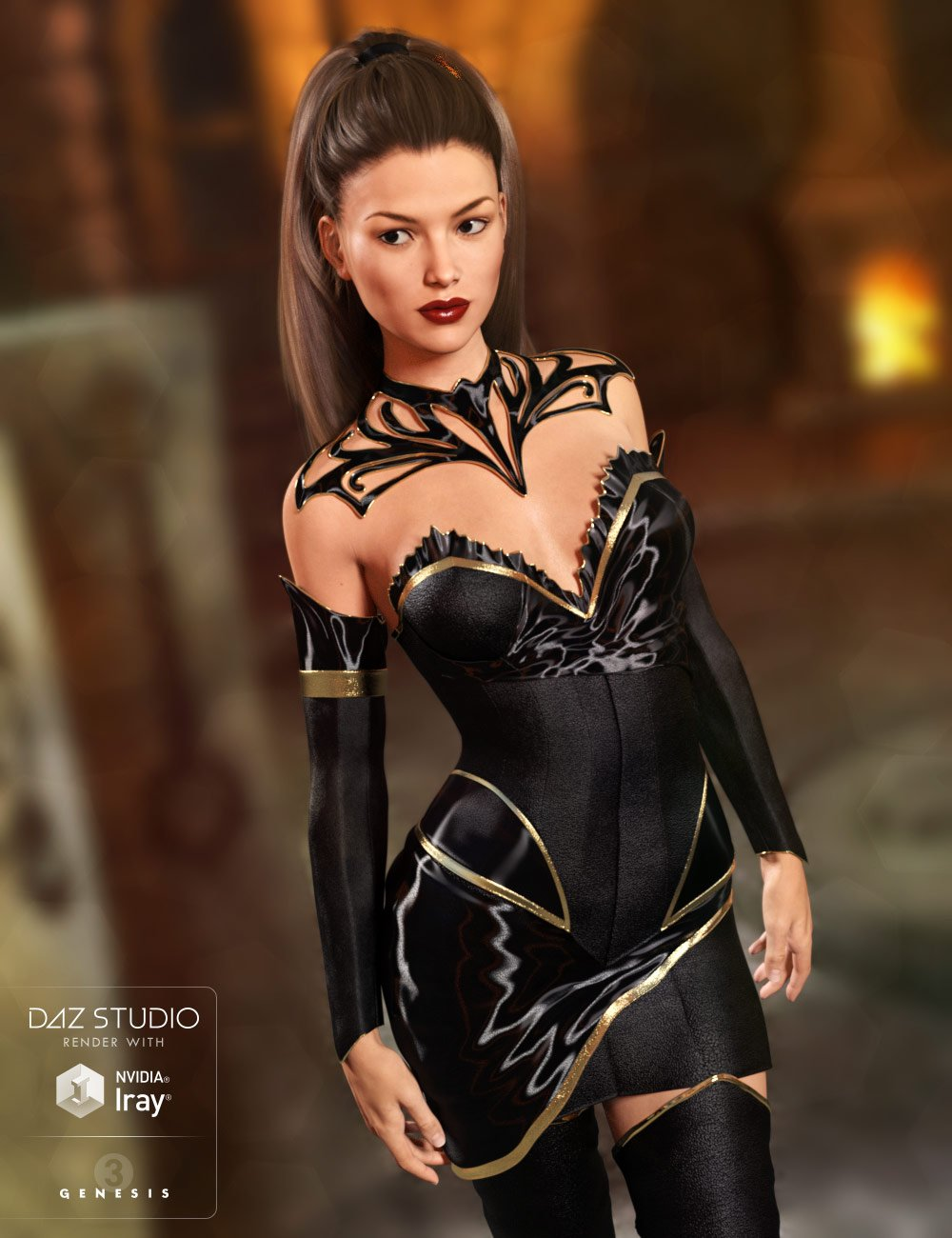Keeper of the Sun Outfit for Genesis 3 Female(s) and Genesis 8 Female(s) by: 4blueyes, 3D Models by Daz 3D