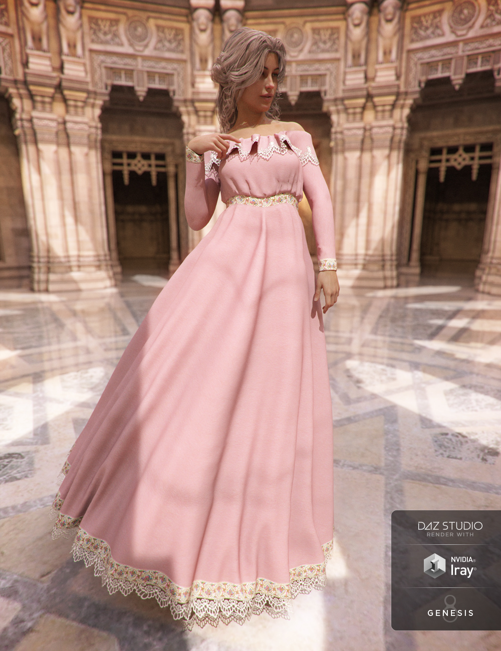 Belle Dress for Genesis 8 Female(s) by: Aave NainenJGreenlees, 3D Models by Daz 3D
