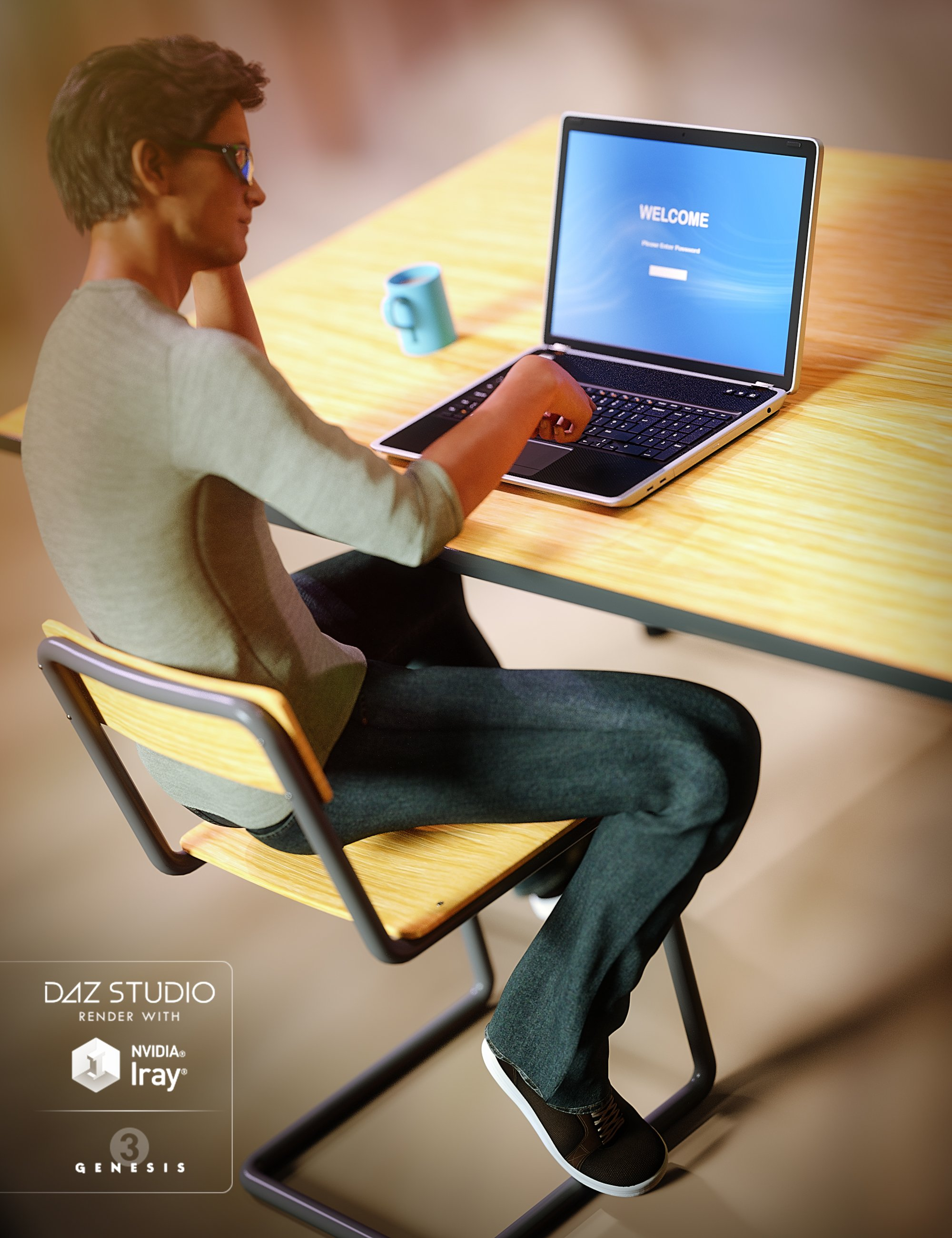Laptop and Table Set by: Predatron, 3D Models by Daz 3D
