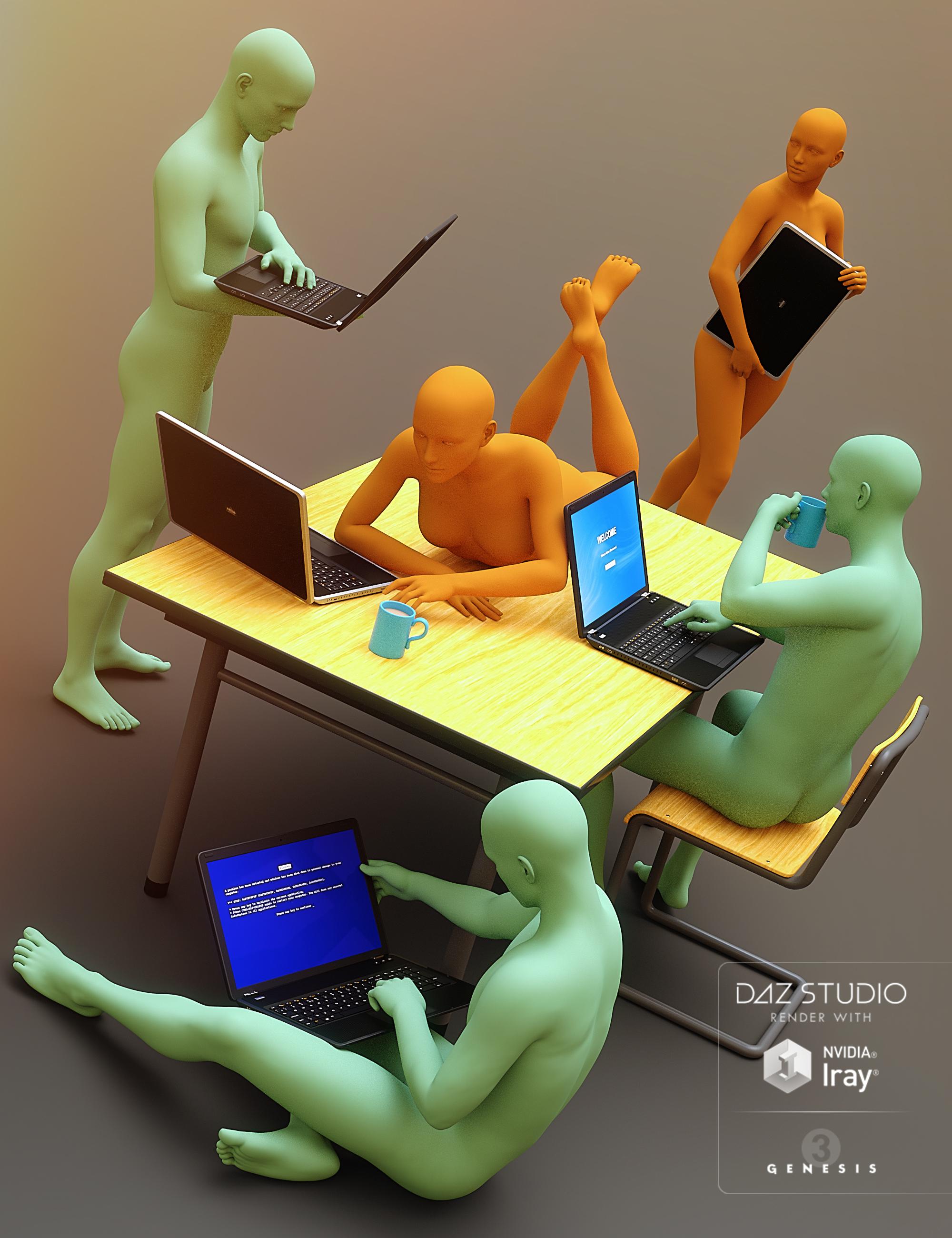Laptop Poses for Genesis 3 by: Predatron, 3D Models by Daz 3D