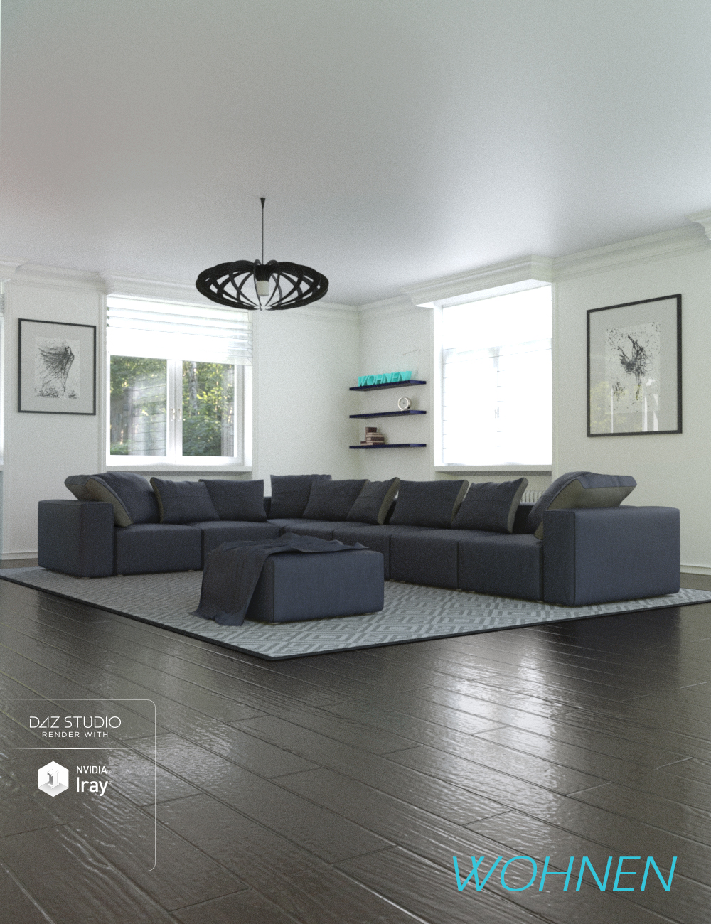 Wohnen Living Room by: Human, 3D Models by Daz 3D
