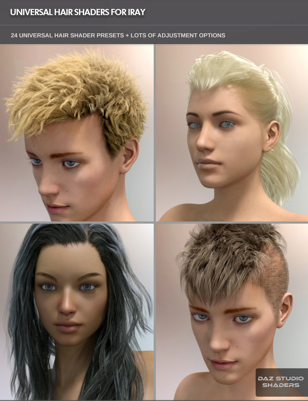 Universal Hair Shader for Iray by: SF-Design, 3D Models by Daz 3D