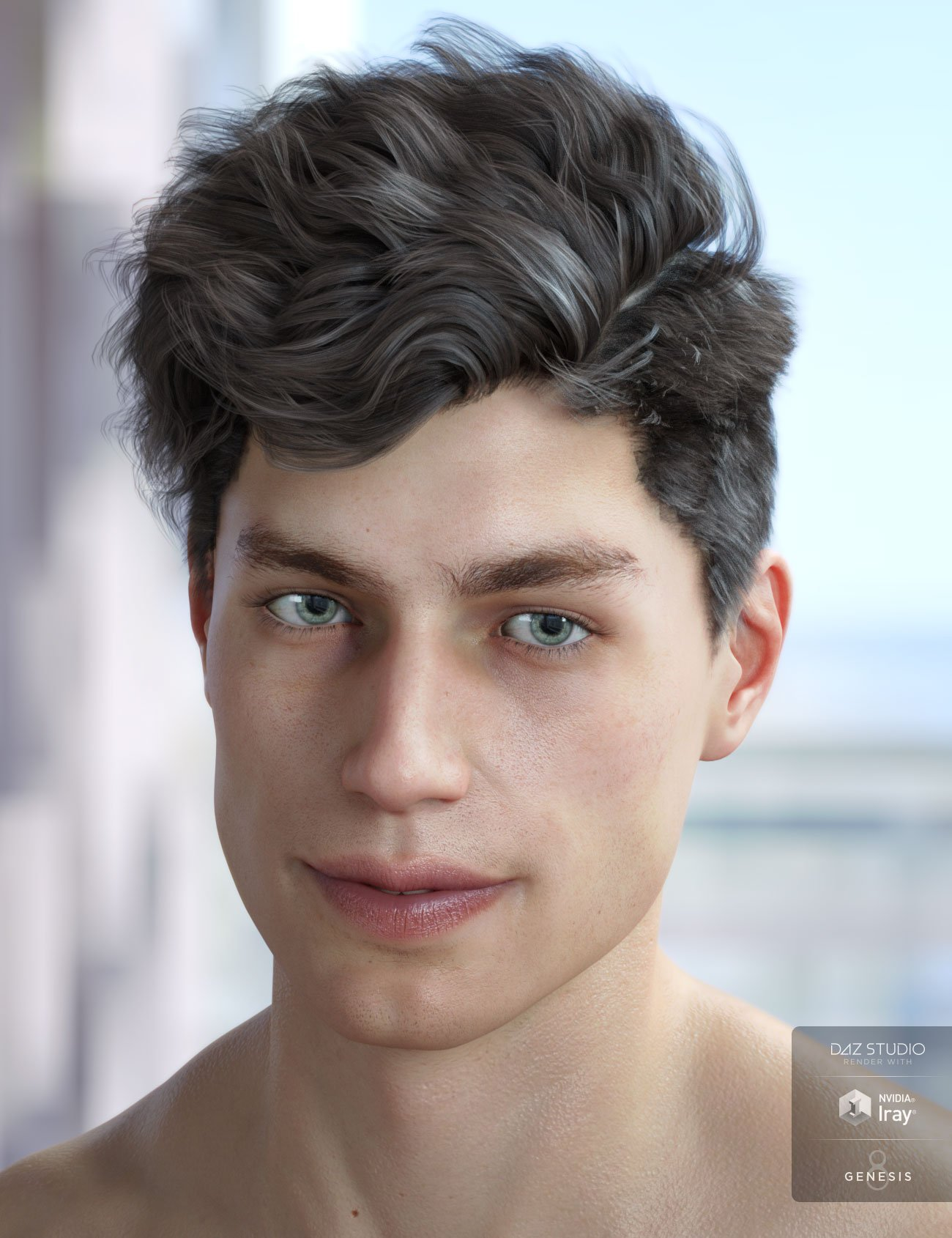 Morley Hair for Genesis 3 & 8 Male(s) by: AprilYSH, 3D Models by Daz 3D
