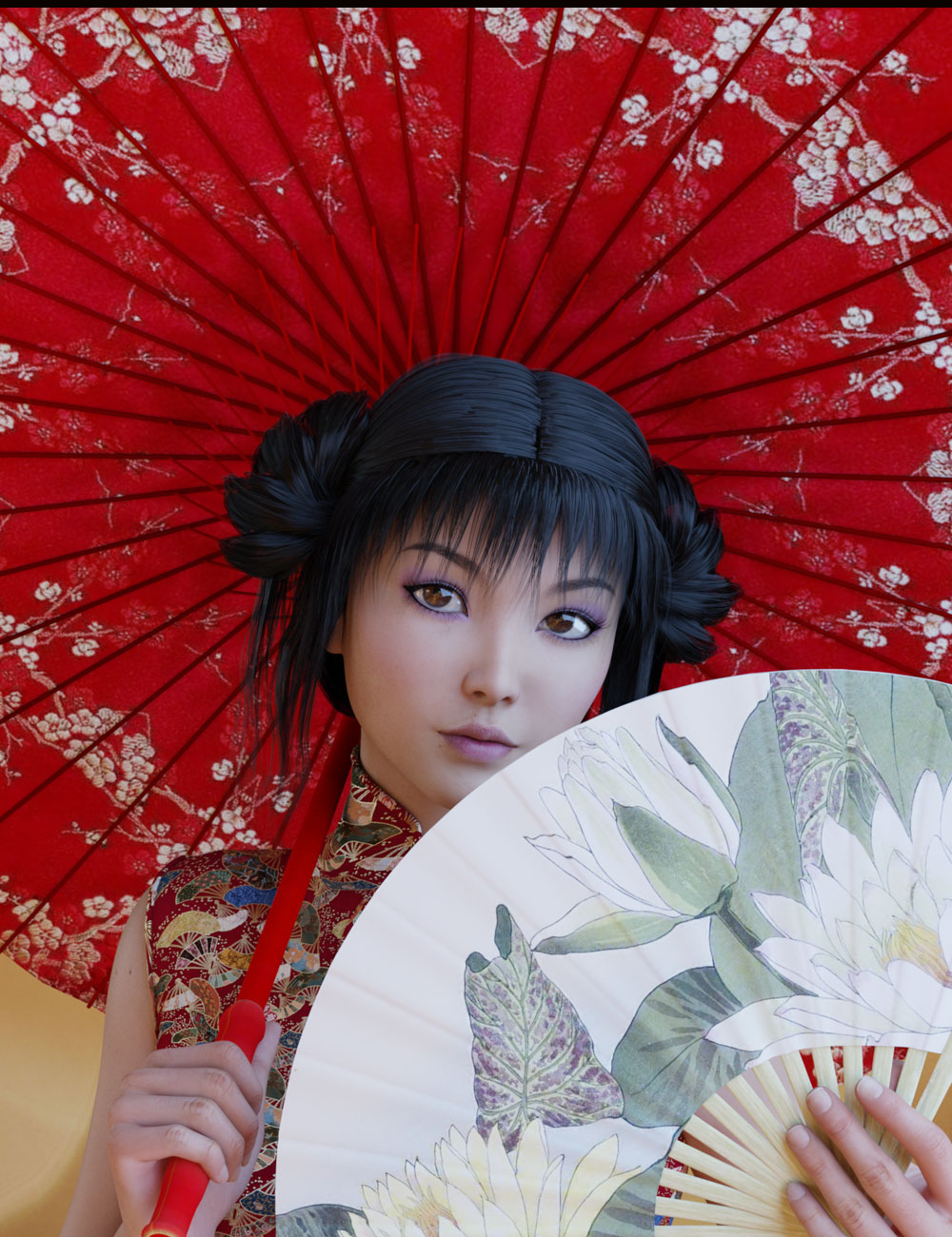Oriental Umbrella and Fans by: Prae, 3D Models by Daz 3D