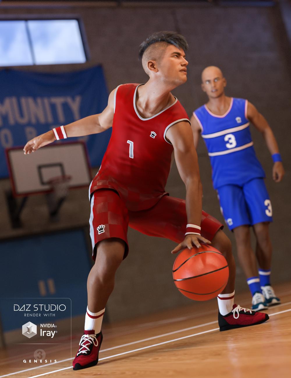 Basketball Kit for Genesis 3 Male(s) by: Predatron, 3D Models by Daz 3D