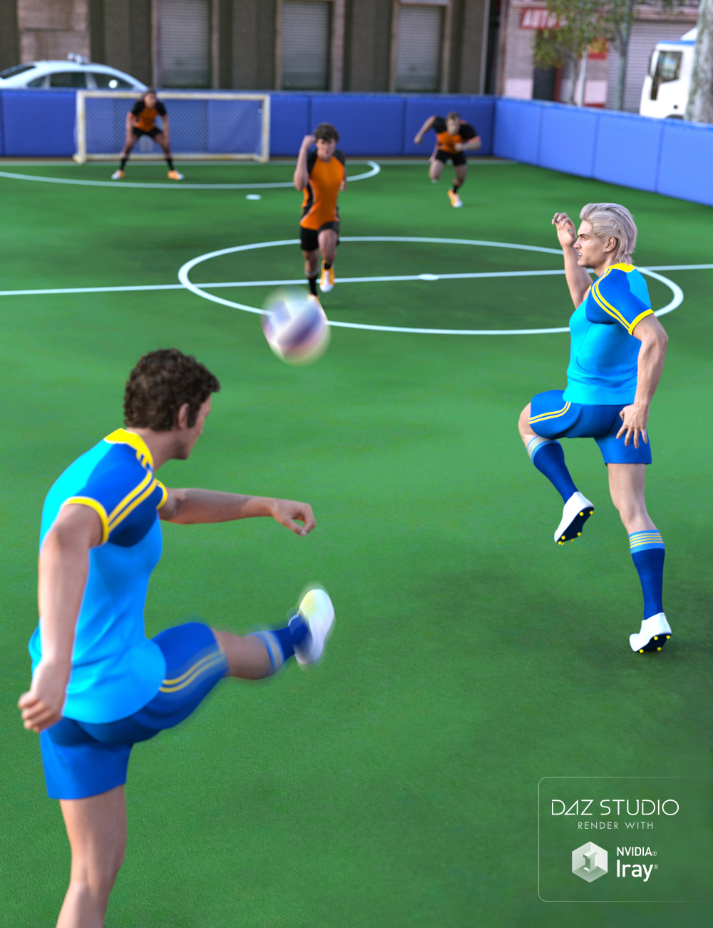 5 A-Side Football Pitch by: Predatron, 3D Models by Daz 3D