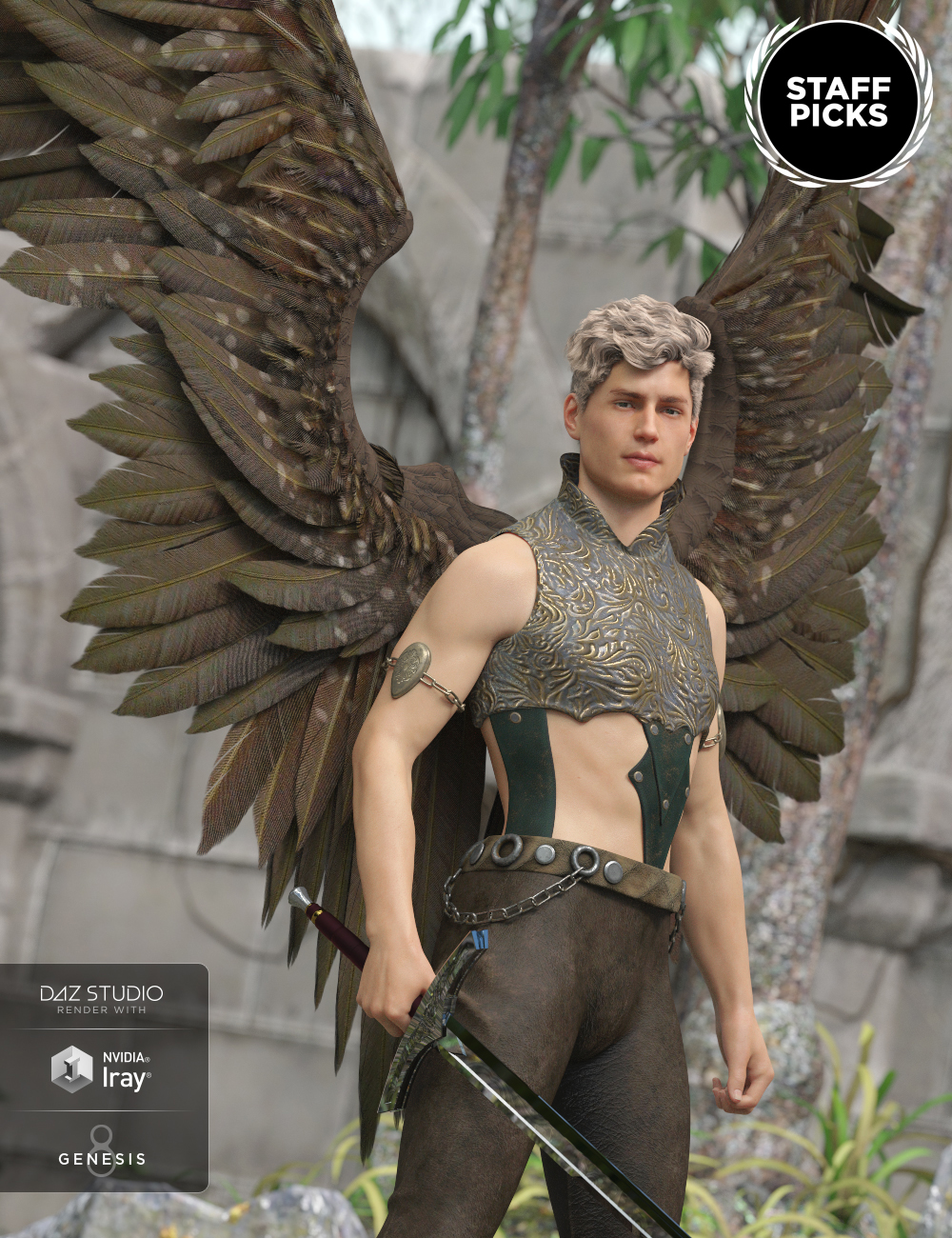 Morning Star Wings for Genesis 3 and Genesis 8 Male(s) by: Anna BenjaminMada, 3D Models by Daz 3D