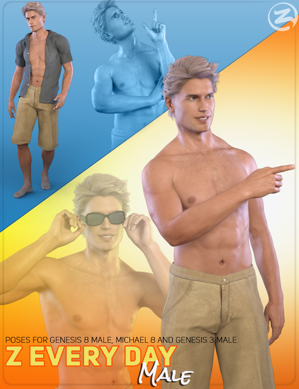 Z Everyday Male - Poses for Genesis 3 Male, Genesis 8 Male and Michael 8 by: Zeddicuss, 3D Models by Daz 3D