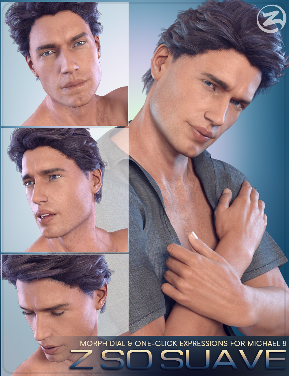 Z So Suave - Dialable and One-Click Expressions for Michael 8 by: Zeddicuss, 3D Models by Daz 3D