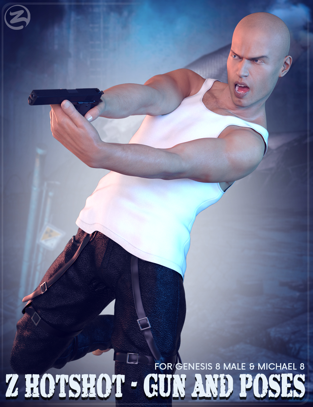 Z Hotshot - Gun and Poses for Genesis 8 Male & Michael 8 by: Zeddicuss, 3D Models by Daz 3D