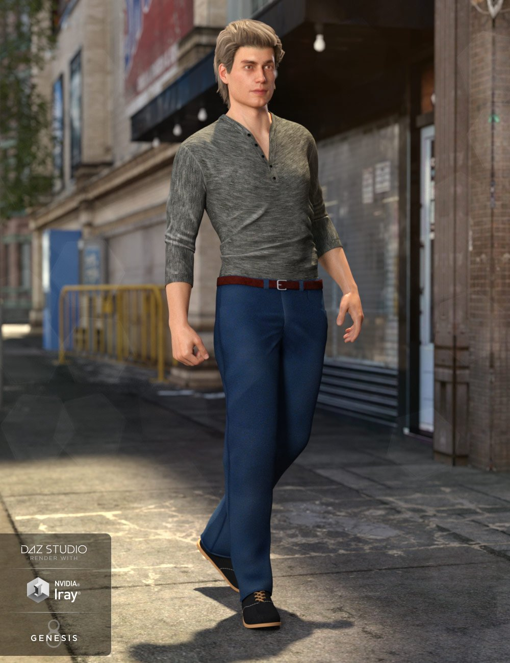 Henley Shirt and Jeans Outfit for Genesis 8 Male(s) by: Mely3DNikisatez, 3D Models by Daz 3D