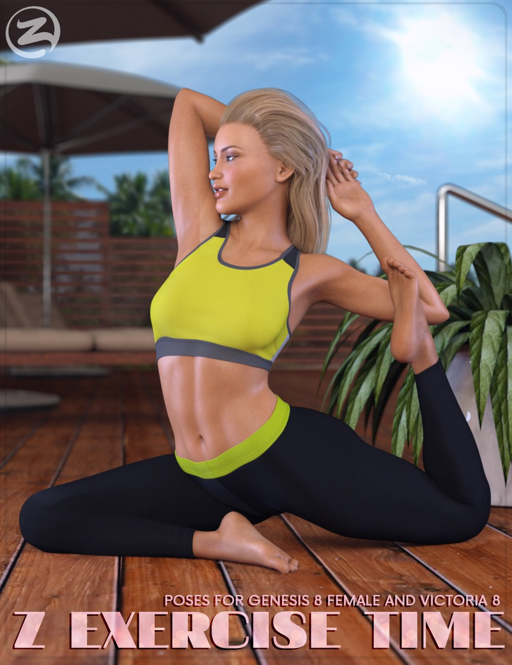 Z Exercise Time - Poses for Genesis 8 Female and Victoria 8 by: Zeddicuss, 3D Models by Daz 3D