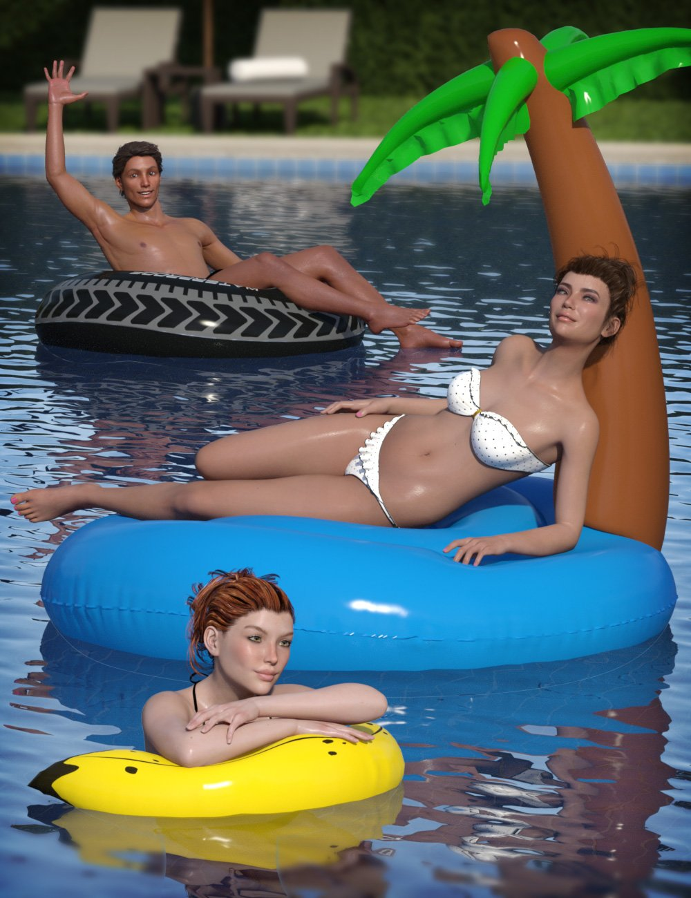 Inflatable Pool Toys & Poses for Genesis 3 and 8 by: eshaFeralFey, 3D Models by Daz 3D