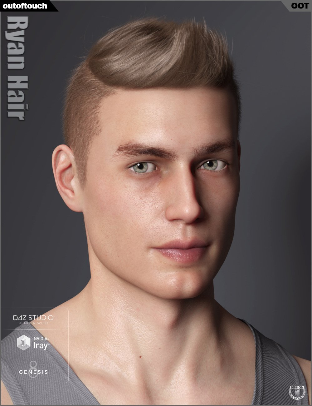 Ryan Hair for Genesis 3 and 8 by: outoftouch, 3D Models by Daz 3D