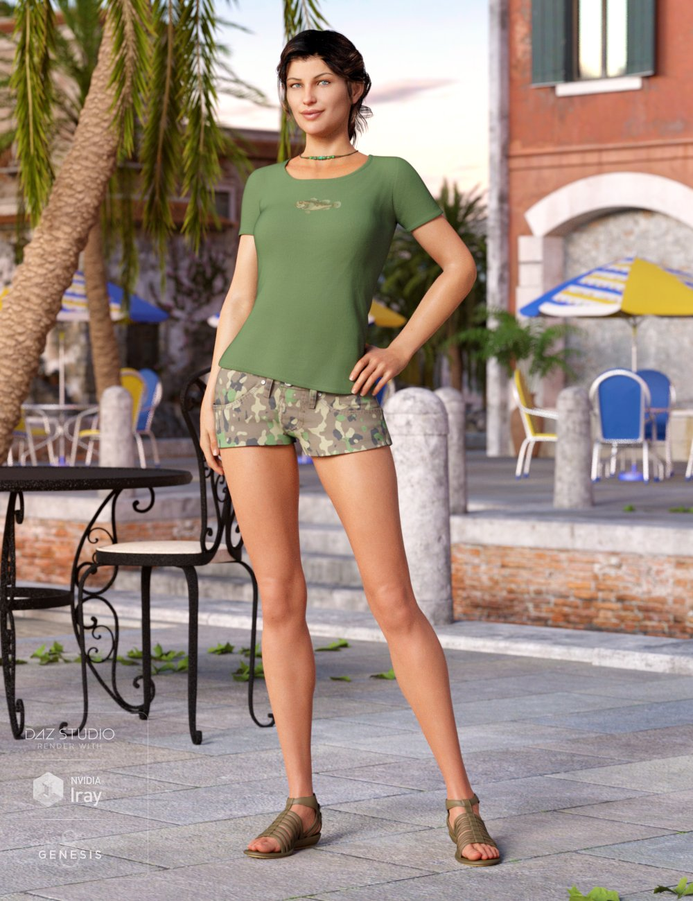 Sunny Shorts Outfit for Genesis 8 Female(s) by: Mada, 3D Models by Daz 3D