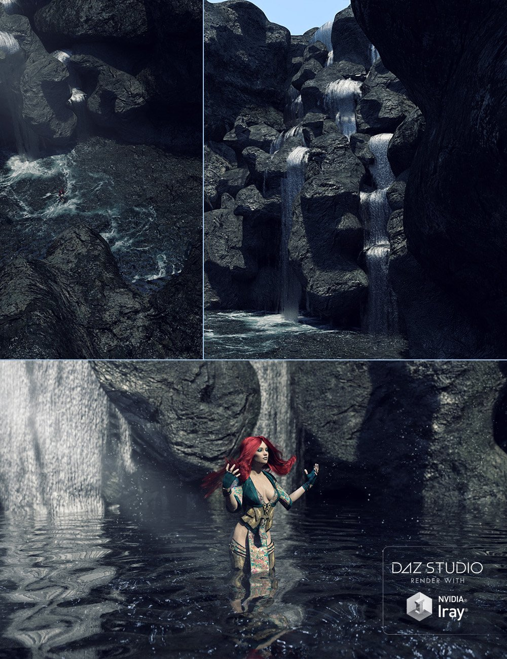 Hidden Waterfall Pool by: David BrinnenForbiddenWhispers, 3D Models by Daz 3D