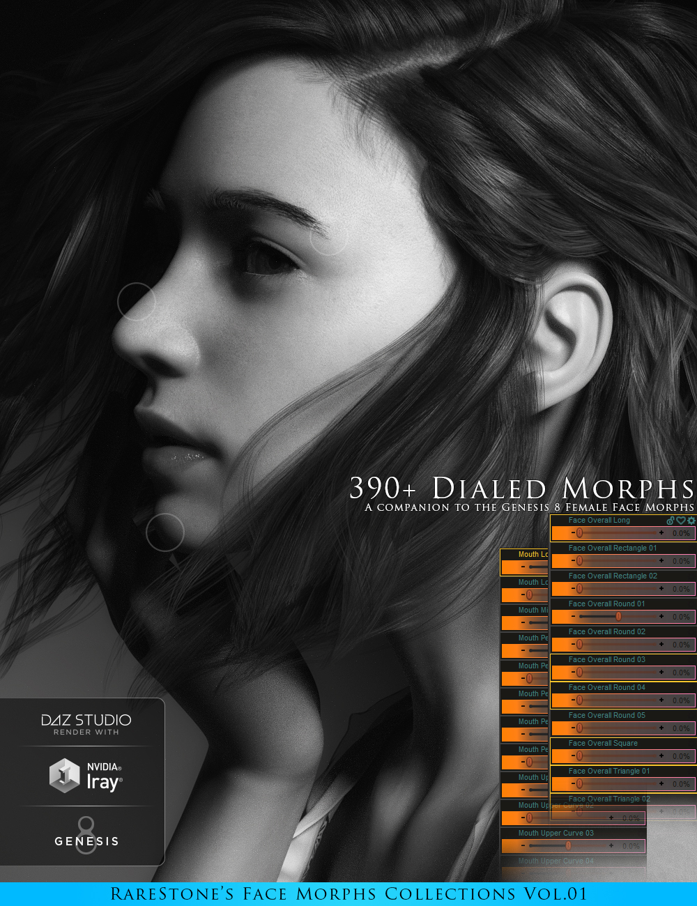 RareStone's Face Morphs Collection for Genesis 8 Female by: RareStone, 3D Models by Daz 3D
