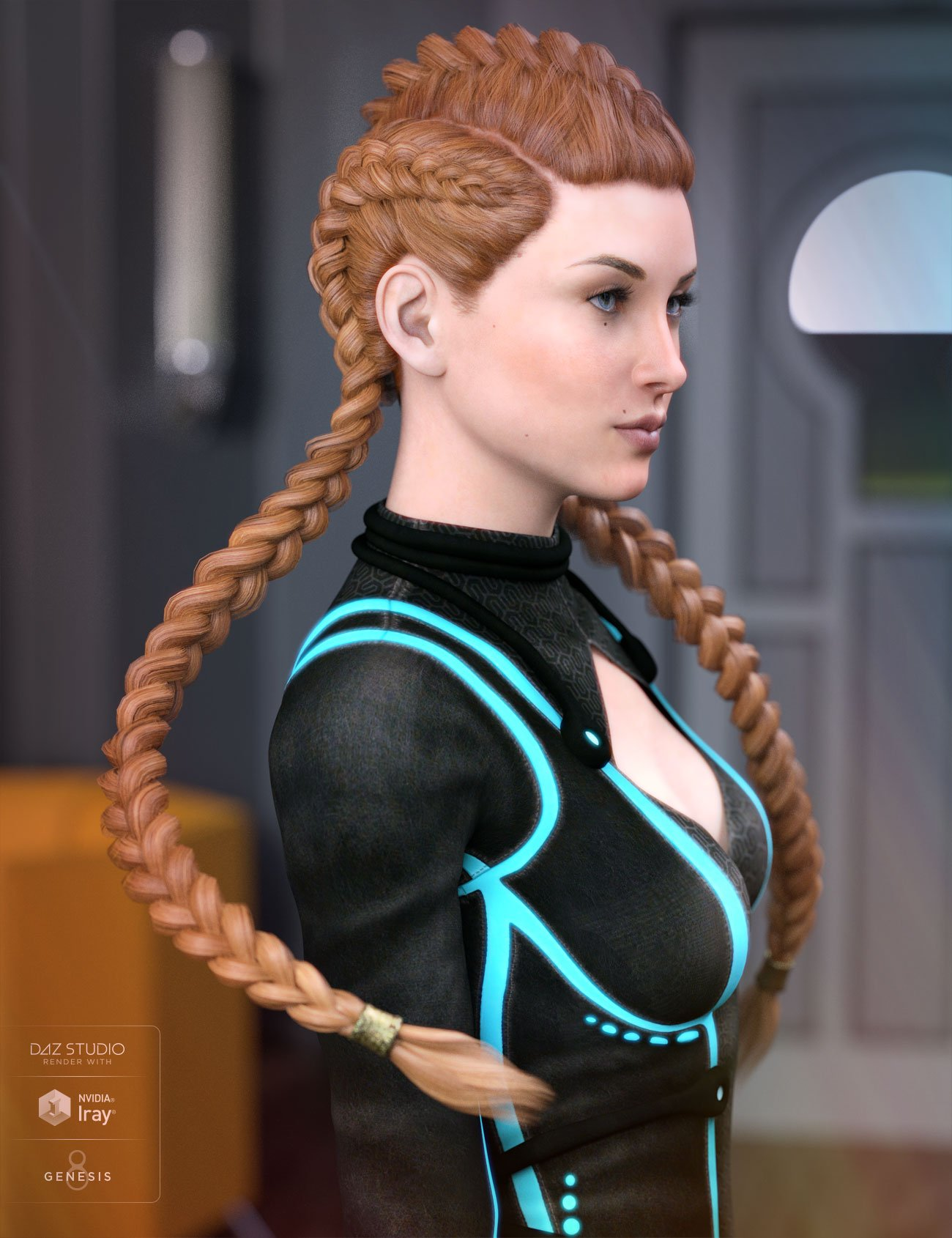 Quincy Hair for Genesis 3 & 8 Female(s) by: AprilYSH, 3D Models by Daz 3D