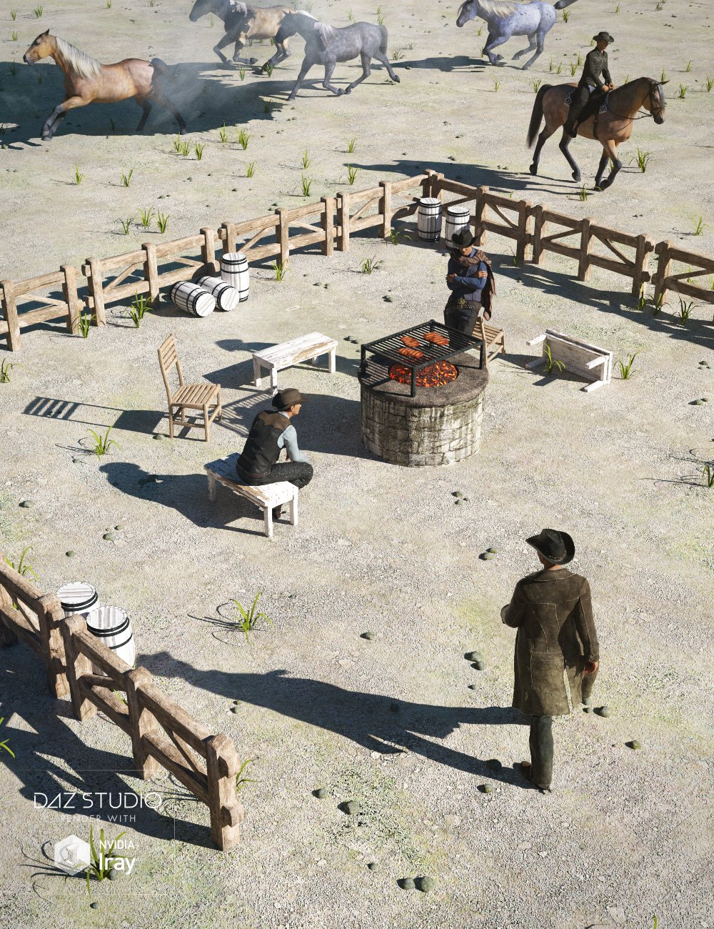 Ranch Campfire Scene by: , 3D Models by Daz 3D